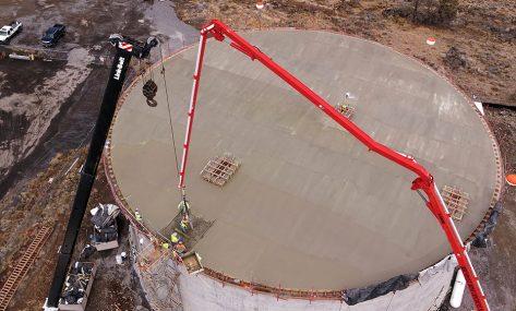 Redmond Water Tower concrete pour aerial shot