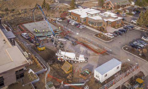 Peters Dermatology concrete pour aerial shot